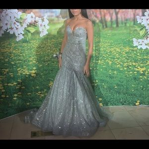 Tiffany Designs Dresses - Tiffany silver glittery gown. Prom, sweet 16 💃🏻